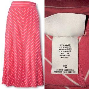 NWOT Ava & Viv Coral White Chevron Maxi Skirt